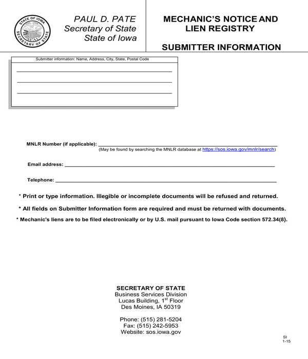 mechanics notice and lien registry form