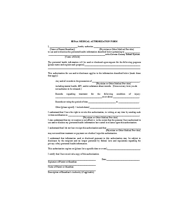 medical authorization form sample1