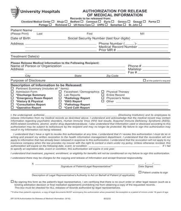 medical information release authorization form