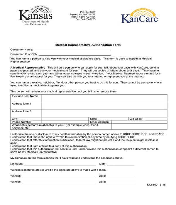 medical representative authorization form