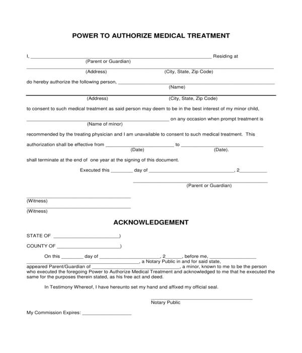 medical treatment authorization power form