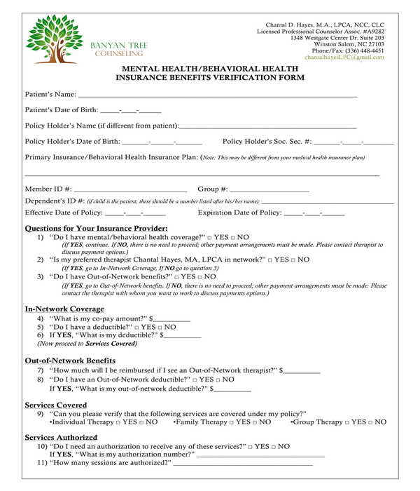 FREE 11+ Medical Health Insurance Verification Forms in PDF