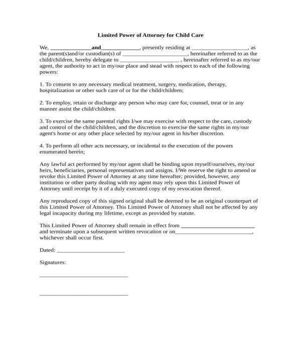 minor child limited power of attorney form