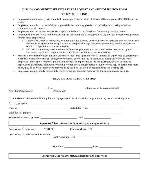 mission leave request form