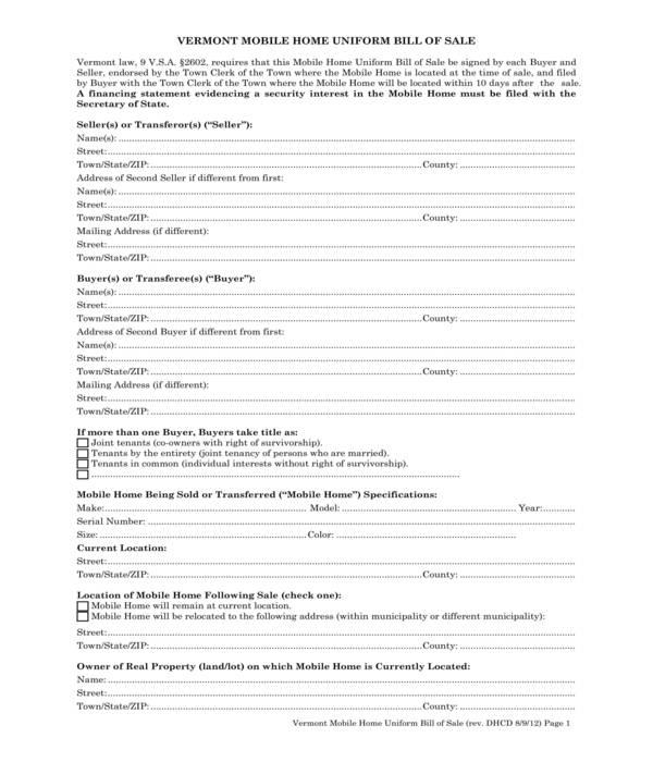 mobile home uniform bill of sale form