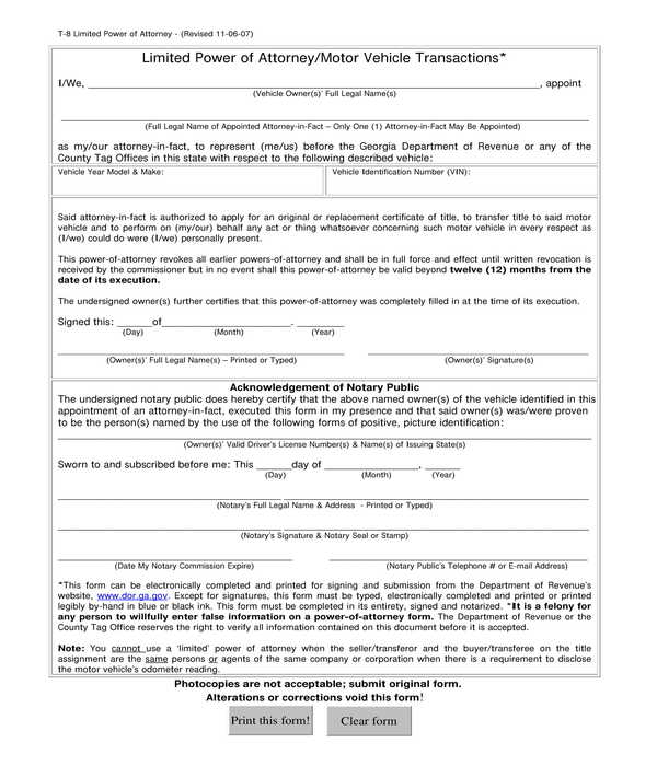 motor vehicle limited power of attorney form