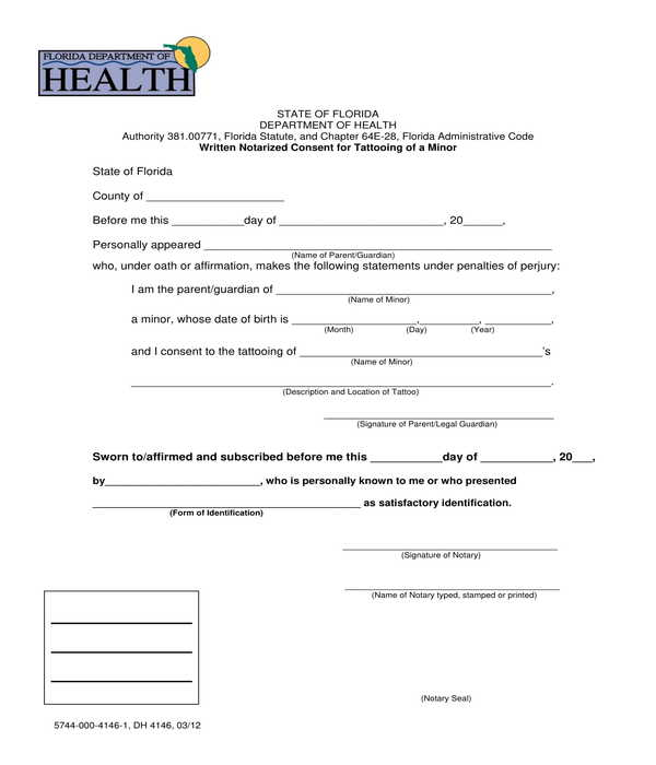 notarized minor tattoo consent form