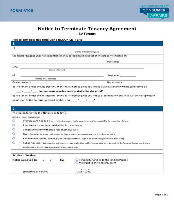 notice to terminate tenancy agreement form