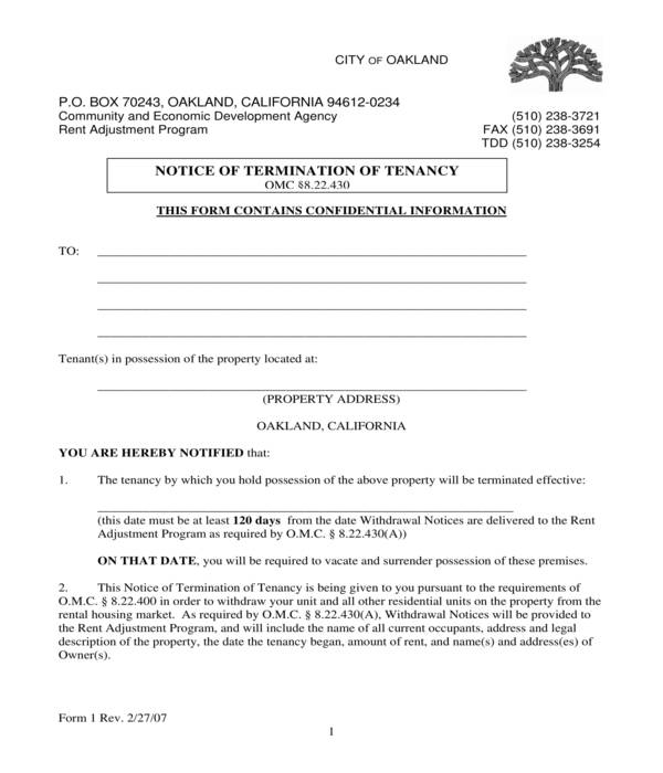 notice to terminate tenancy form sample