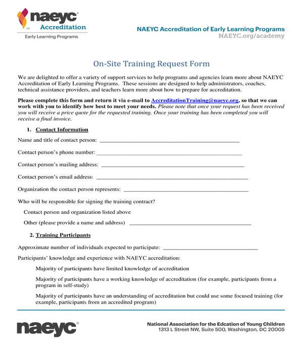on site training request form