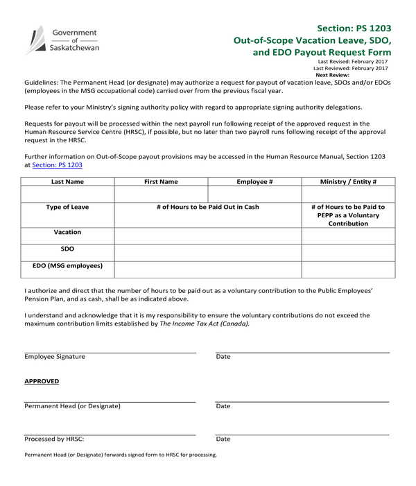 out of scope vacation leave payout request form