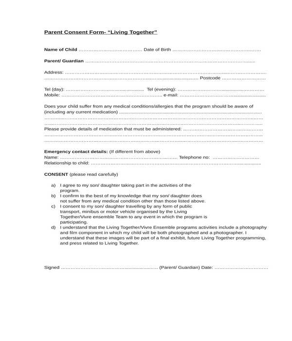 parental consent form in doc