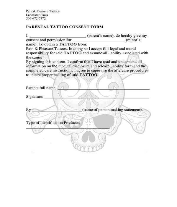 parental tattoo consent form