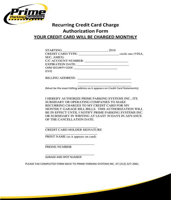 parking system recurring credit card charge authorization form