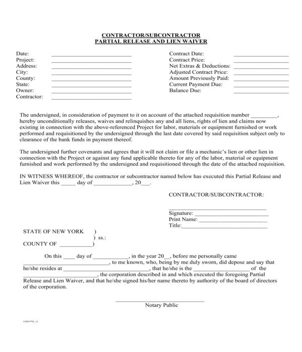 partial release and lien waiver form