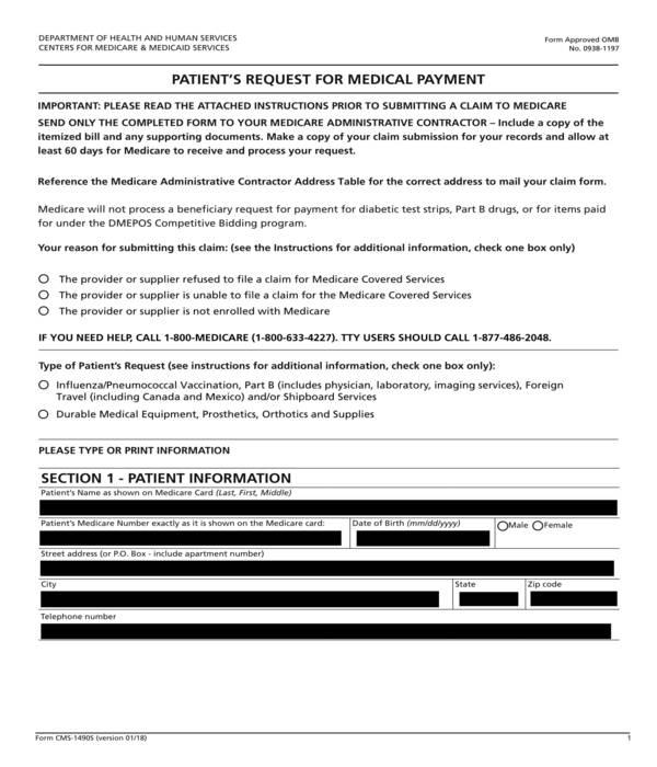 patient medical payment request form