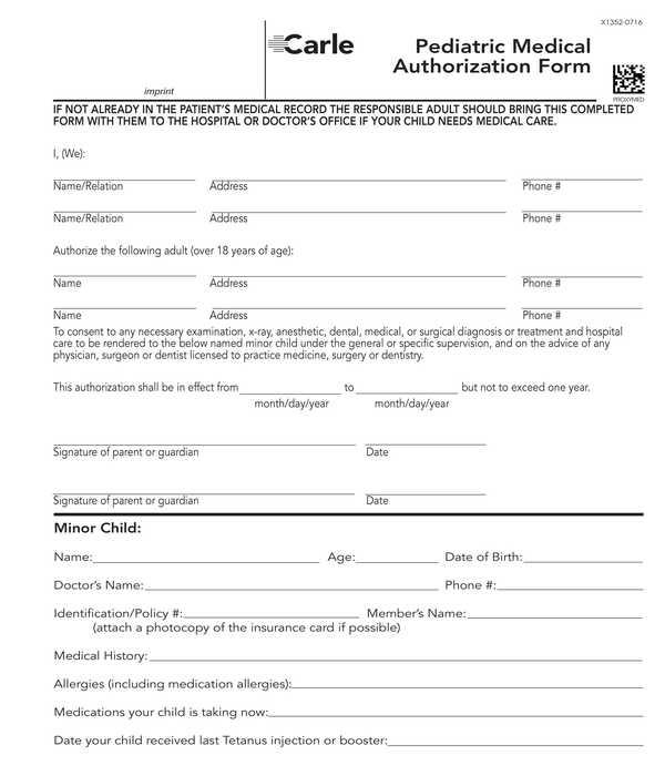 pediatric medical authorization form