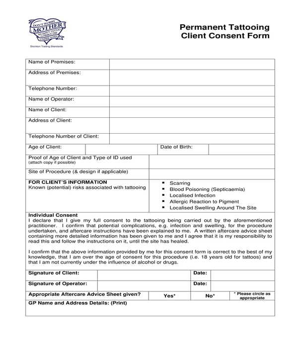 permanent tattooing client consent form