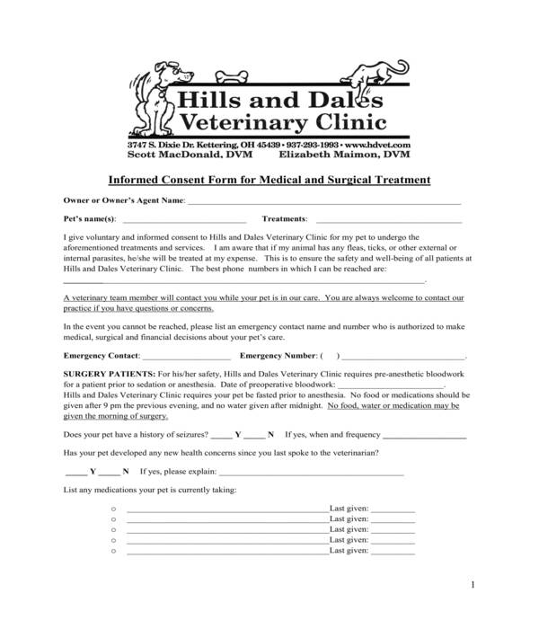 pet medical and surgical treatment informed consent form