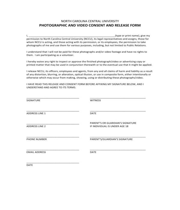 photo video consent and release form