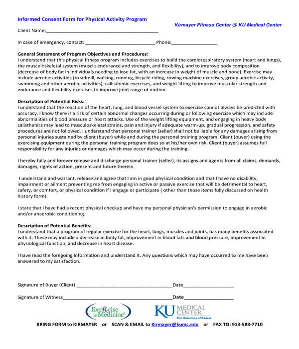 physical activity program informed consent form