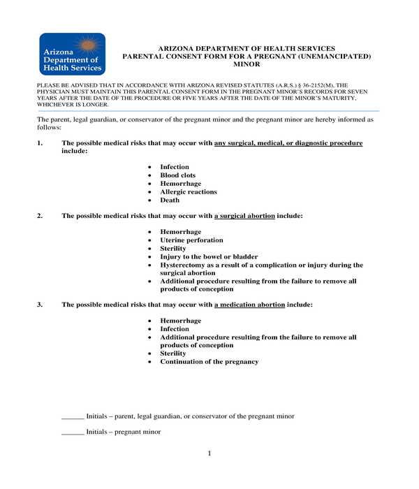 pregnant minor parental consent form