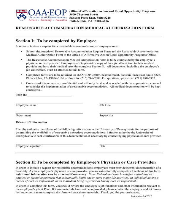 reasonable accommodation medical authorization form