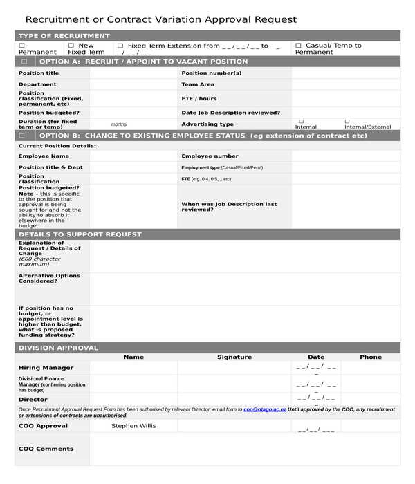 recruitment contract variation approval request form