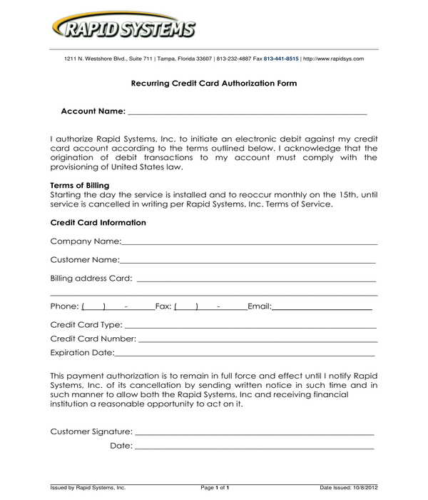 recurring credit card authorization form sample