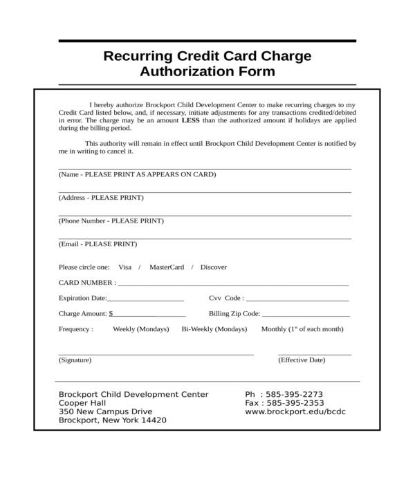 recurring credit card authorization form in doc
