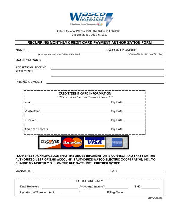recurring monthly credit card payment authorization form