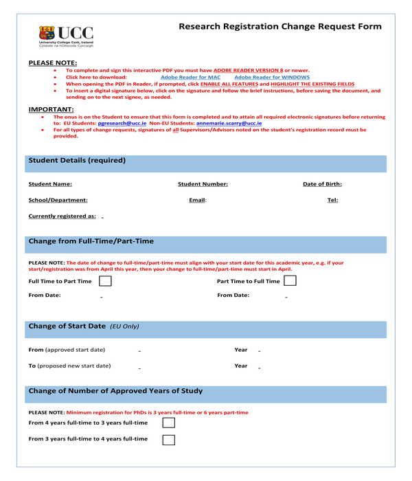 research registration change request form