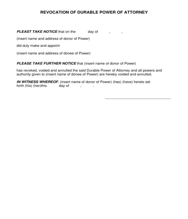 revocation of durable power of attorney form