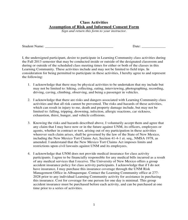 risk assumption and informed consent form