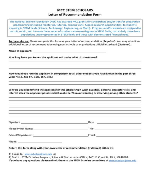 free 7  professional letter of recommendation forms in pdf