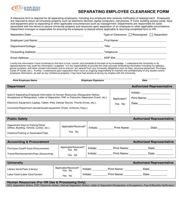 separating employee clearance form