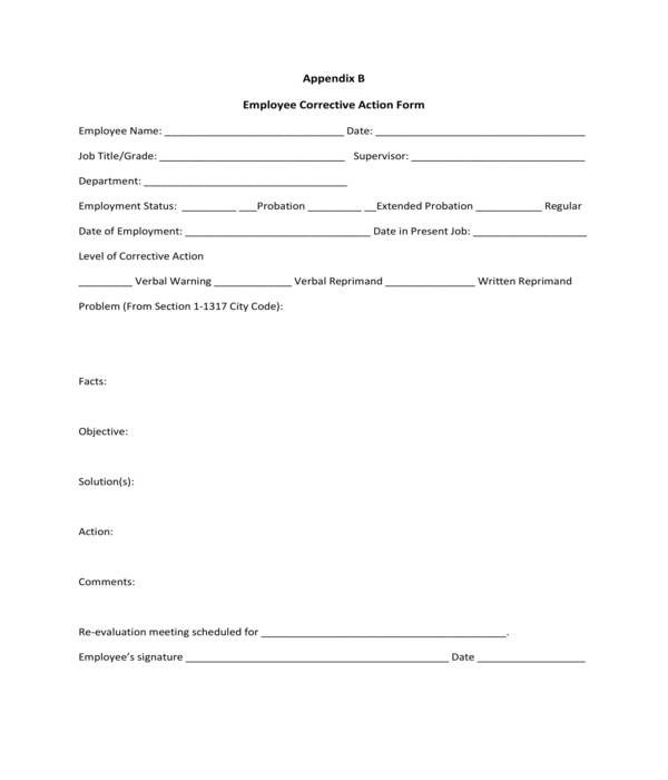 simple employee corrective action form