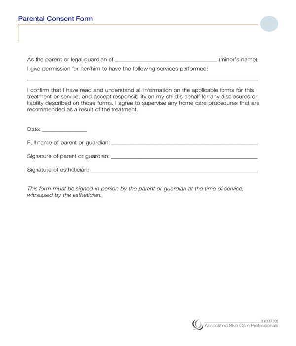skin treatment parental consent form