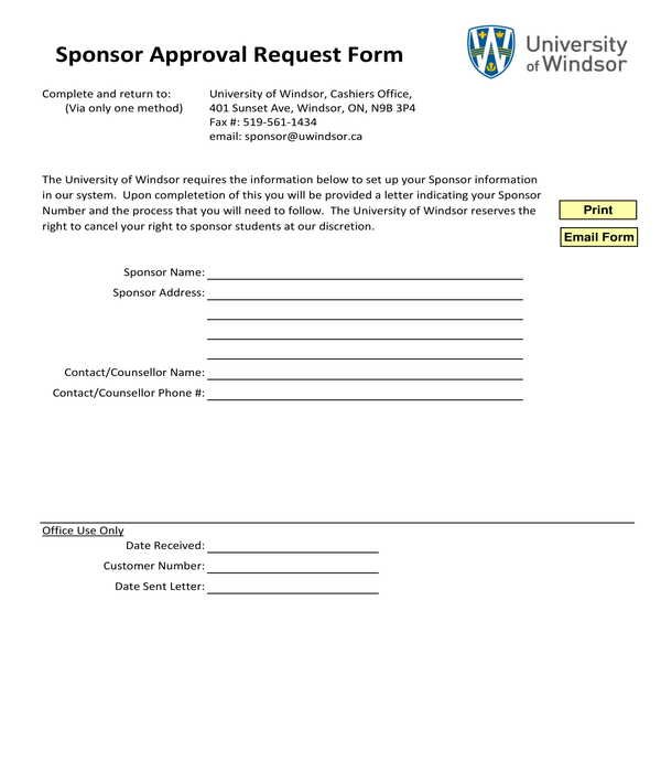 sponsor approval request form