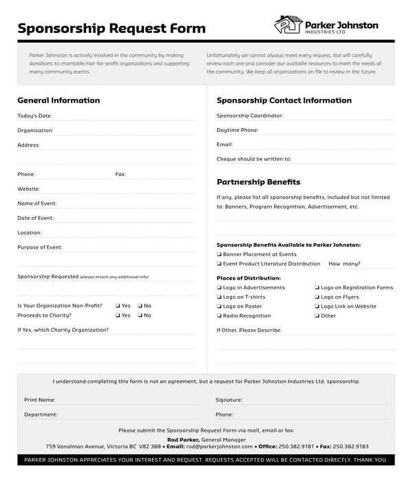 sponsorship request form sample