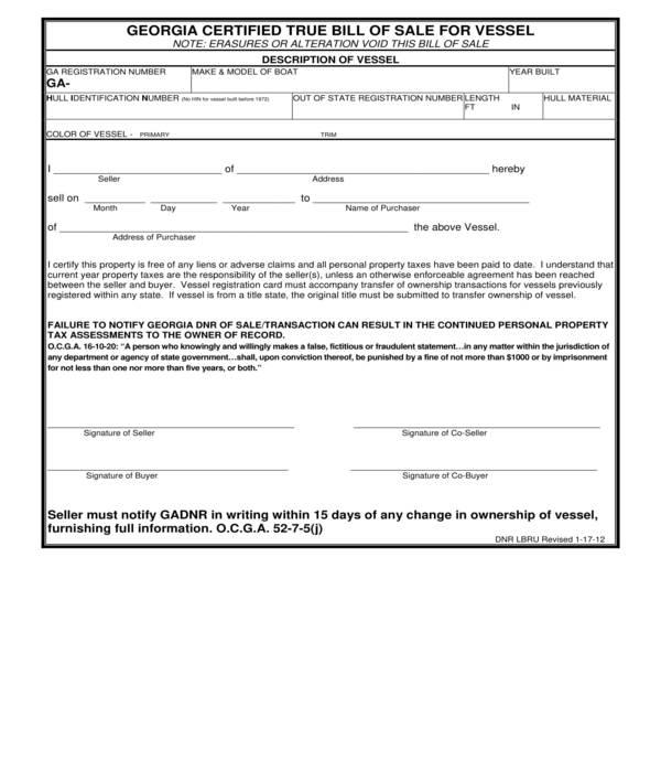 state certified vessel bill of sale form