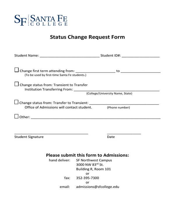 status change request form