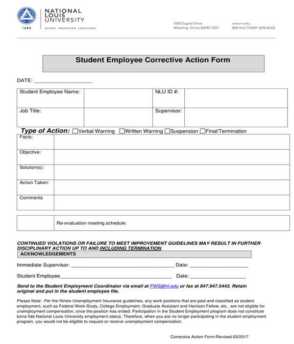 student employee corrective action form