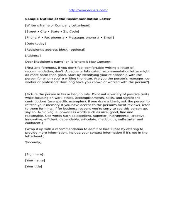 student recommendation letter in doc