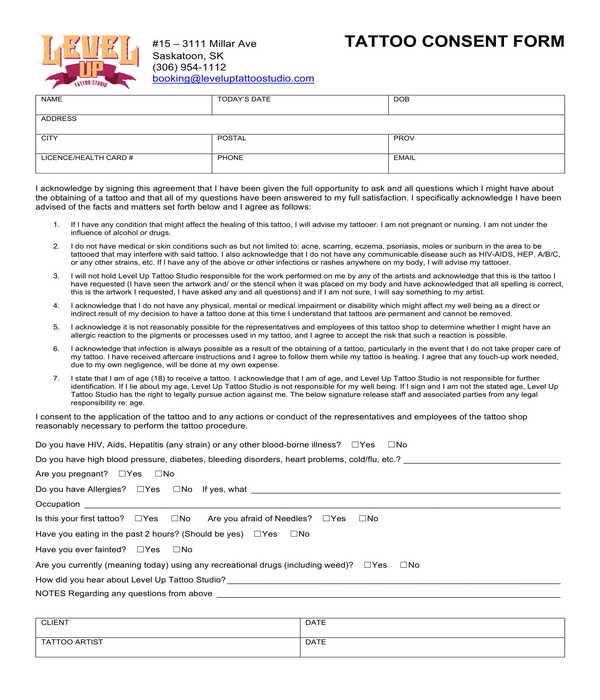 tattoo consent form sample