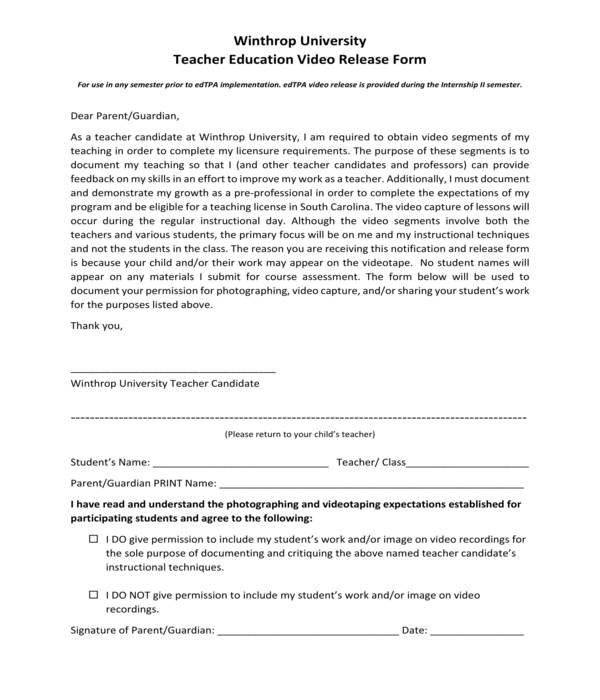 teacher education video release form