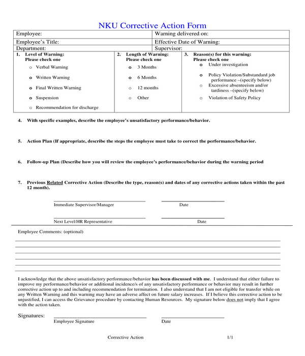 university employee corrective action form