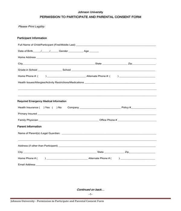 university participation permission and parental consent form