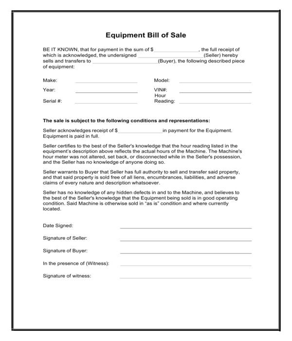 used equipment bill of sale form