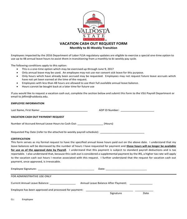 vacation cash out request form